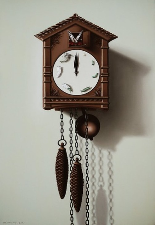 Cuckoo clock. Painting by Romanian artist Mihai Criste