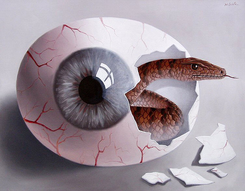 Egg eye. Painting by Romanian artist Mihai Criste
