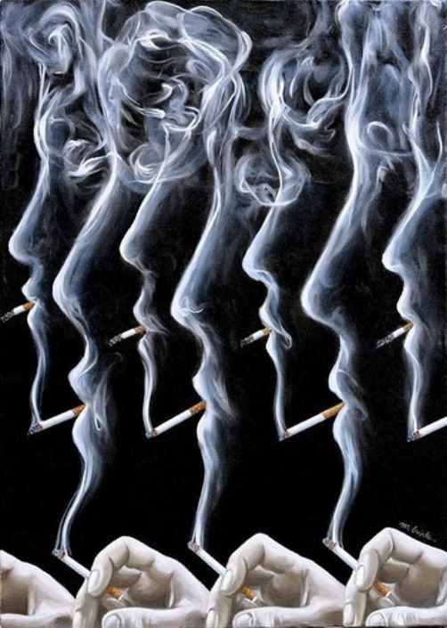 Smoking. Painting by Romanian artist Mihai Criste
