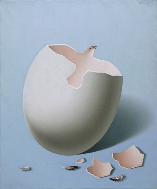 Broken egg. Painting by Romanian artist Mihai Criste