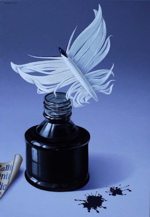 Ink and feather. Painting by Romanian artist Mihai Criste