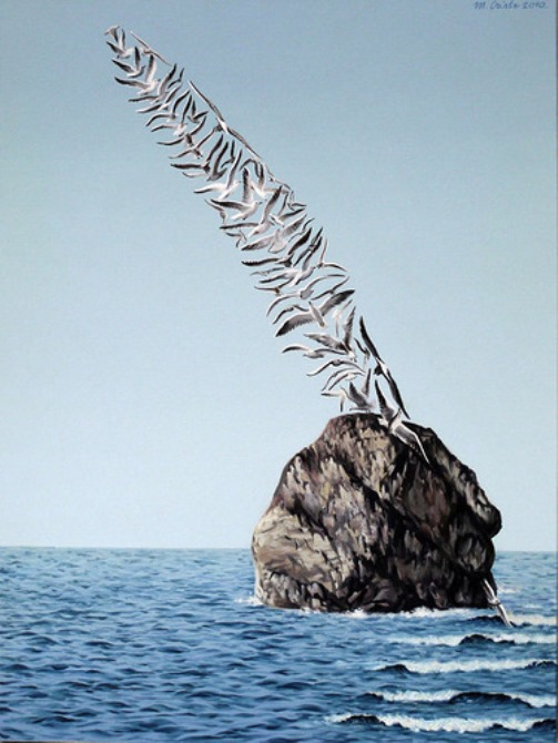 Birds on the rock. Painting by Romanian artist Mihai Criste