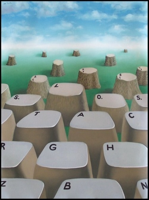Tree stumps and keyboard. Painting by Romanian artist Mihai Criste