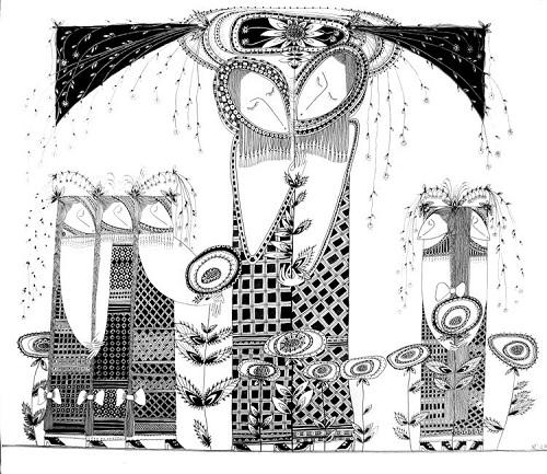 Black and white drawings by Russian artist Yury Poberezhny