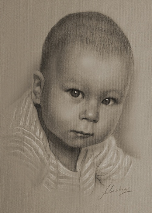 child portrait. Pencil portraits by Krzysztof Lukasiewicz