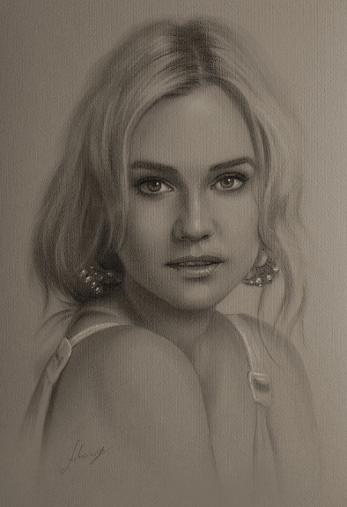 Fashion model and actress, beautiful Diane Kruger. Pencil portrait by Polish Illustrator Krzysztof Lukasiewicz