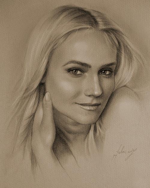 Gorgeous Diane. Pencil portrait by Polish Illustrator Krzysztof Lukasiewicz