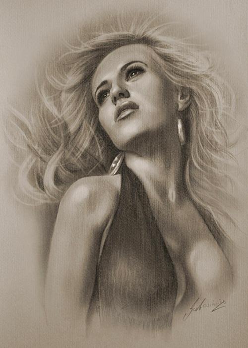 Polish musical artist Doda (Dorota Rabczewska). Pencil portrait by Polish Illustrator Krzysztof Lukasiewicz