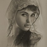English actress Gemma Arterton as Tamina. Pencil portrait by Polish Illustrator Krzysztof Lukasiewicz