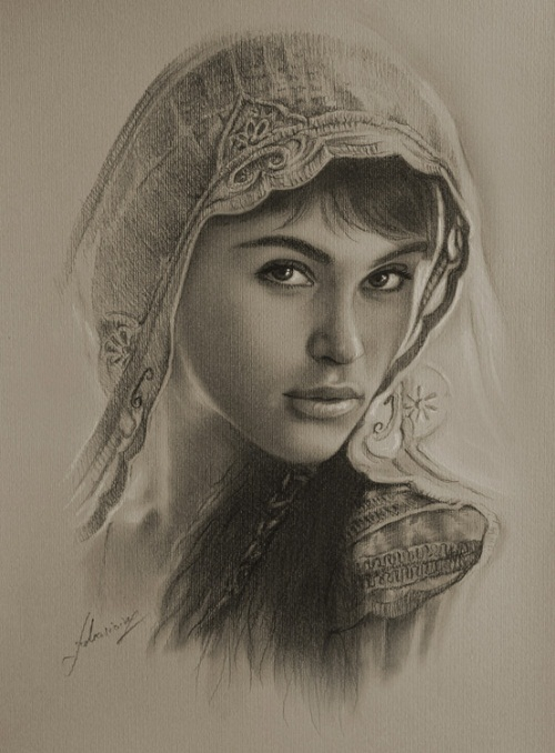 English actress Gemma Arterton as Tamina. Pencil portrait by Polish Illustrator Krzysztof Lukasiewicz