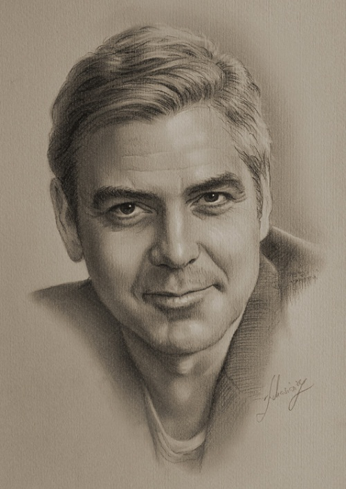 Hollywood star George Clooney. Pencil portrait by Krzysztof Lukasiewicz