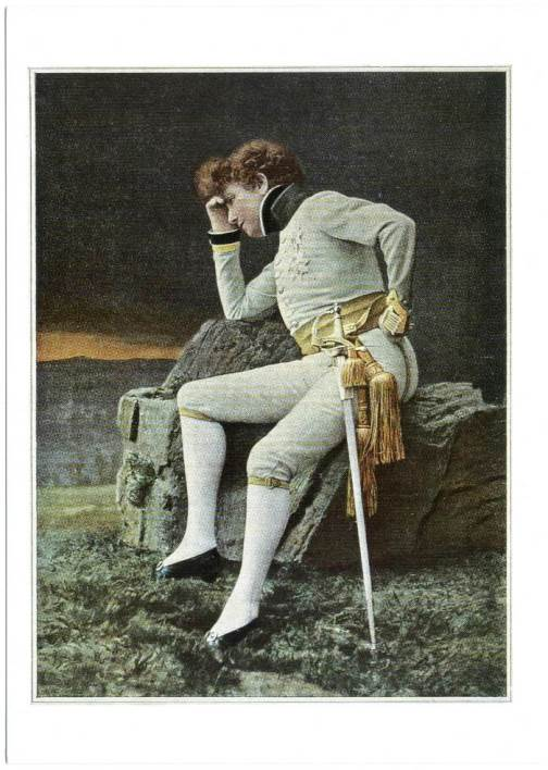 On the stage in male role. Sarah Bernhardt