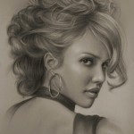 American actress Jessica Alba. Pencil portrait by Polish Illustrator Krzysztof Lukasiewicz