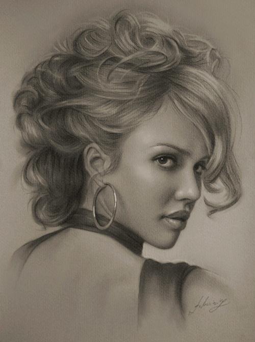 American actress Jessica Alba. Pencil portrait by Polish Illustrator Krzysztof Lukasiewicz