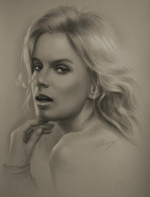 Justyna. Pencil portrait by Polish Illustrator Krzysztof Lukasiewicz
