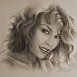 Australian singer Kylie Minogue. Pencil portrait by Polish Illustrator Krzysztof Lukasiewicz