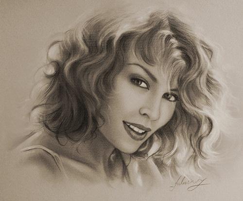 Australian singer Kylie Minogue. Pencil portrait by Polish Illustrator Krzysztof Lukasiewicz