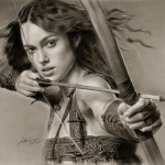Beautiful English actress Keira Knightley as Guinevere. Pencil portrait by Polish Illustrator Krzysztof Lukasiewicz