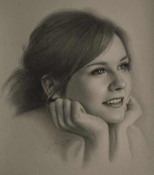 Film actress Kirsten Dunst. Pencil portrait by Polish Illustrator Krzysztof Lukasiewicz