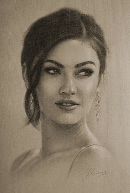 Model and actress Megan Fox. Pencil portrait by Polish Illustrator Krzysztof Lukasiewicz