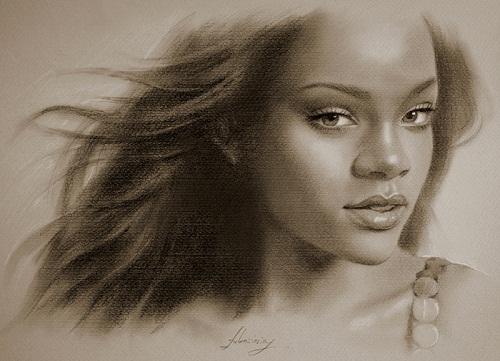 Barbadian singer Rihanna. Pencil portrait by Polish Illustrator Krzysztof Lukasiewicz