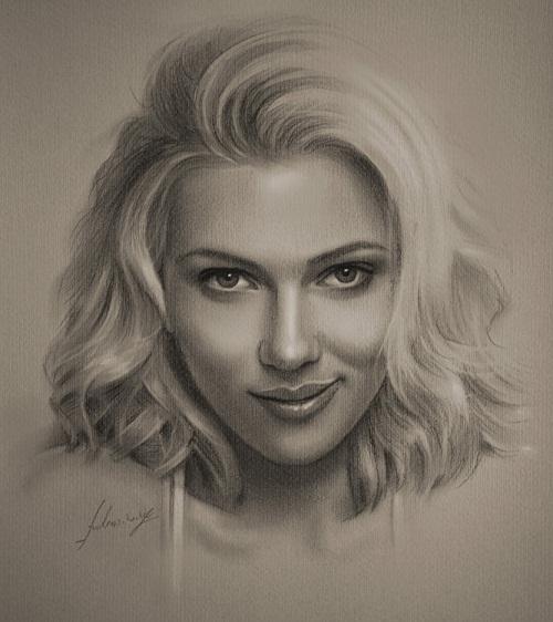 Scarlett Johansson. Pencil portrait by Polish Illustrator Krzysztof Lukasiewicz