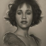 Whitney Houston. Pencil portrait by Polish Illustrator Krzysztof Lukasiewicz