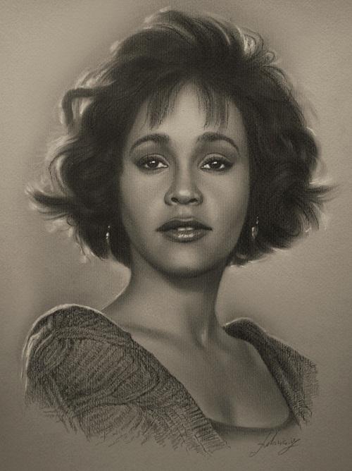 Whitney Houston. Pencil portrait by Polish Illustrator Krzysztof Lukasiewicz