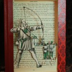 """Robin Hood"" book sculpture. The book used is part of the ""Best Loved Books"" series, published in the 60′s. Bow strings are made from wire."