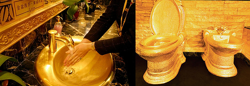 "Sink, toilet and even walls made of gold. Jewellery shop ""Golden House"" of Hong Kong"