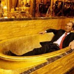 "Taking a gold bath. Jewellery shop ""Golden House"" of Hong Kong"