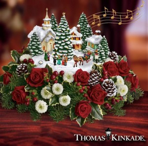 Christmas decorations by American artist Thomas Kinkade