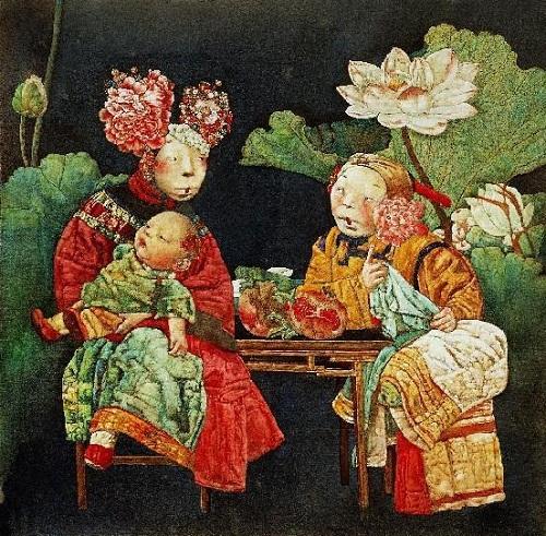 Beautiful painting by Chinese mixed media artist Liu Hong Yuan