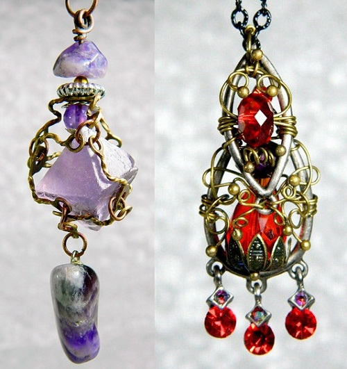 Long earrings. Steam punk jewellery by Irina Maritskaya