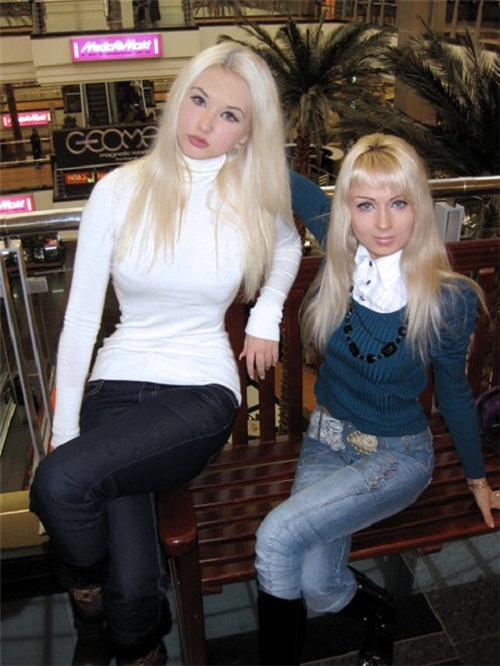 Young Christina (left) and Valeria Lukyanova