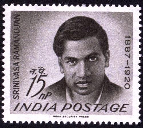 postage stamp in honor of Indian maths genius Srinivasa Ramanujan