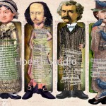 Famous Authors - Jane Austen, William Shakespeare, Twain and Edgar Allen Poe from the unique design collection The Abandoned Attic