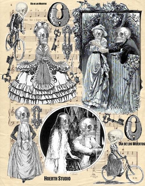 Halloween Zombie Skeleton collage vintage images