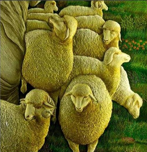 "Fragment of ""Good Shepherd"", 3D embroidery by Sheikh Shams Uddin"