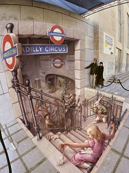 3d street painting called The Belgian Underground photographed in Brussels, Belgium