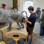Baboons in the studio. Sculpture by British artist Kendra Haste