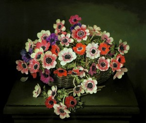 Basket with flowers, painting by Spanish artist Jose Escofet