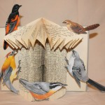 "Bird House Book Sculpture"" Each bird is hand drawn and colored."