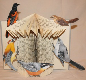 """Bird House Book Sculpture"""" Each bird is hand drawn and colored."""