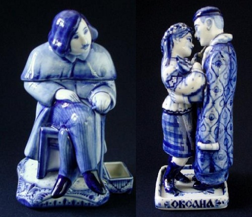 Candlestick 'Of Nikolai Gogol' (left), the sculpture of the blacksmith Vakula and Oksana (right), on Nikolai Gogol's 'Christmas Eve' ('The Night Before Christmas'), from his collection 'Evenings on a Farm Near Dikanka'