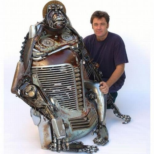 Car parts sculptures made by Australian artist James Corbett