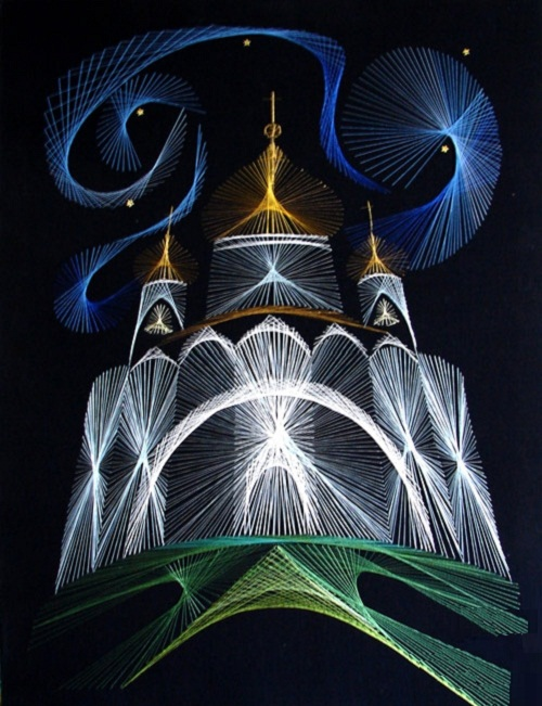 Cathedral of Christ the Savior, Moscow. 1996, dedicated to the Jubilee of Moscow. String art by Olga Voronova
