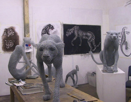 Cheetah. Realistic 3D animal sculpture by British artist Kendra Haste