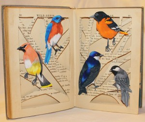 Commissioned Book Sculpture Each bird is hand drawn and colored.