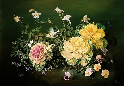 Decorative cabbage, painting by Spanish artist Jose Escofet